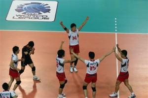 全日本がロシアに久しぶりに勝った公式戦。前田はオポジットとして活躍