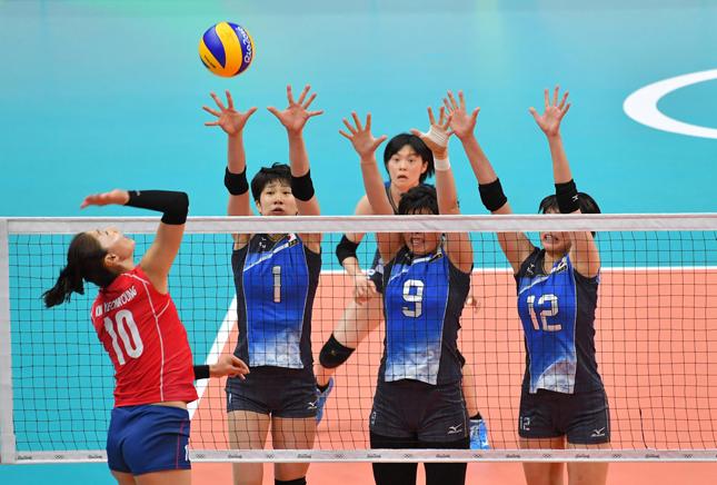 キム・ヨンギョンに3枚ブロックにつく全日本