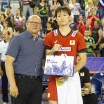 ベストプレイヤーオブチームを受賞した柳田将洋